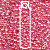 Miyuki Japanese Seed Beads Size 6/0 - Hot Pink Lined Crystal with Iridescent Coating (6-9355-TB)