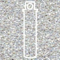 Miyuki Japanese Seed Beads Size 8/0 - Silver Lined Crystal with Iridescent Coating (8-91001-TB)