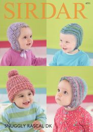 Baby Hats in Sirdar Snuggly Rascal DK (4771) - Free with orders of Two Skeins of Snuggly Rascal DK/Please add to cart (Pdf File)