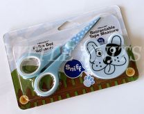 Zoo Animal Scissors & Tape Measure Set - Blue Polka Dot & Puppy Tape Measure