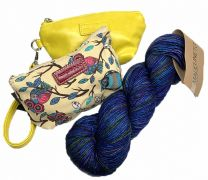 Megan Puchlet (Canary),  Owl Pouch (Cream Canvas) & Tosh Merino Light - Blues