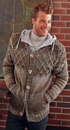 Men's Cardigan - Included in Moments 020 - Free With Purchases of 5 Skeins/One bag of Tweed Style (Please Add to Cart)