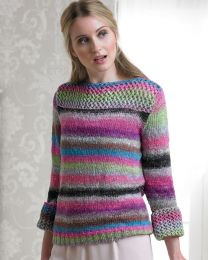 Crystal Sweater with Lace Neckline and Cuffs- This pattern is included in the Noro Boutique Book (Price is for the whole book)
