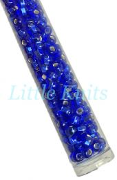 Preciosa 6/0 Czech Seed Beads - Silver Lined Sapphire (Color #27080) - In 65 gram hanks with approx 830 beads in each hank