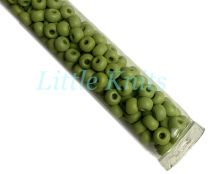 6/0 Czech Seed Beads  - Opaque Matte AB Wasabi (Color #54430M) 20 Gram Tube