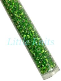 6/0 Czech Seed Beads  - Silver Lined Light Green (Color #57430) 20 Gram Tube
