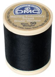 DMC Machine Embroidery Thread, Size 50 - Noir (Color #310)