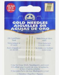 DMC 22K Gold Plated Tapestry Needles - Size 22, Four Needles