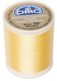 DMC Machine Embroidery Thread, Size 50 - Soft Yellow (Color #744)