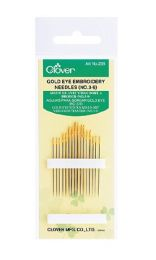 Clover Gold Eye Embroidery Needles - No. 3-9 (Item #235)