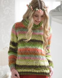 Floral Sweater with Diamond Front- This pattern is included in the Noro Boutique Book (Price is for the whole book)