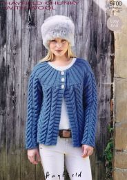 Cardigan in Hayfield Chunky with Wool - Pattern #9702