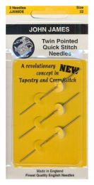 John James Twin Pointed Quick Stitch Needles - Size #22