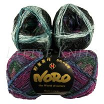 Noro Silk Garden Sock - Black, Mauve, Blue (Color #413)