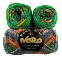 Noro Silk Garden Sock - Greens, Coral, Ink (Color #426)