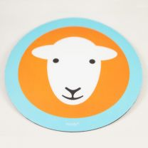 Herdy Mouse Mat - Orange with a Blue Border