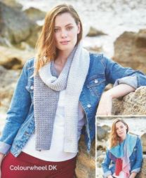Tuck Stitch Pattern Scarf and Eyelet Pattern Scarf - Pattern #8223 - Free with orders of One Sirdar Colourwheel Purchase/Please add to cart (Pdf File)