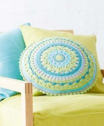 Crochet Pillow and Seat Cover - Included in SMC Inspiration No. 82 Book - Free with purchase of 10 skeins or two bags of Journey/One per person please