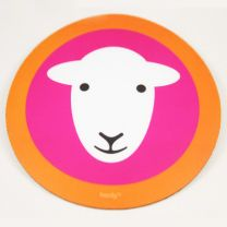 Herdy Mouse Mat - Pink with a Orange Border