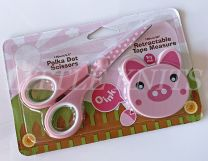 Zoo Animal Scissors & Tape Measure Set - Pink Polka Dot & Piggy Tape Measure