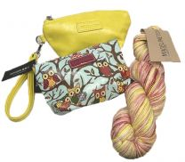Megan Puchlet (Canary), Owl Pouch (Light Blue) & Tosh Merino Light - Sunny Variegated Colors